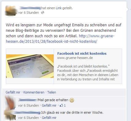 Diskussion auf Facebook