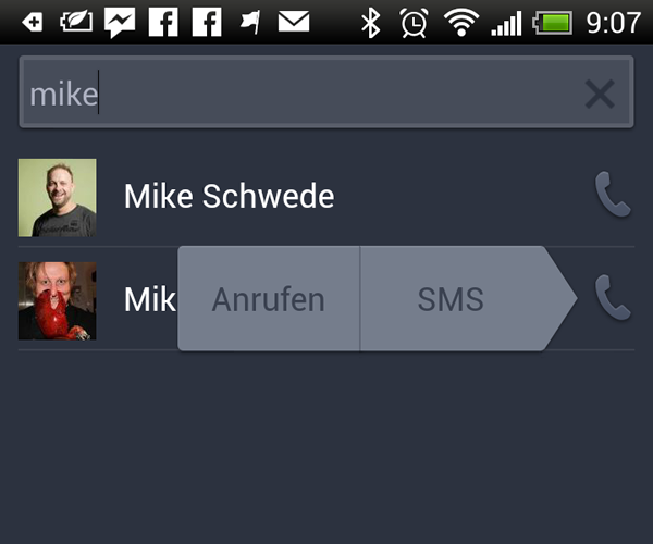 Call-Button in der Suche der Android Facebook App