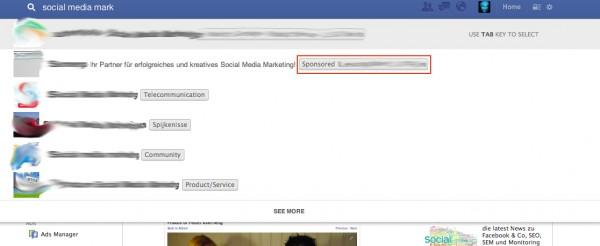 Facebook Sponsored Result innerhalb der Suchergebnisse von Graph Search