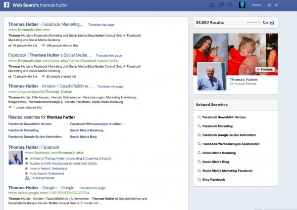 Suchergebnisanzeige Graph Search Websuche