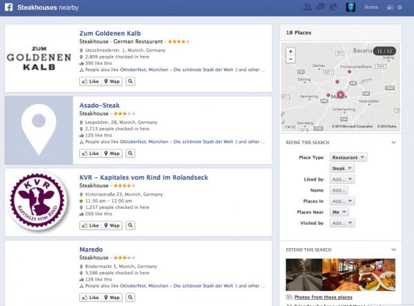 Suchergebnisanzeige in Graph Search