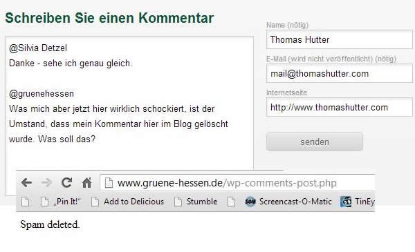 Ich darf bei gruene-hessen.de nicht mehr Kommentare verfassen - ZENSUR