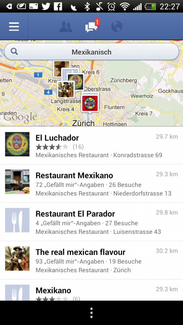 Nearby Search in der Facebook App für Android
