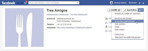 Facebook Ort beanspruchen (claiming)