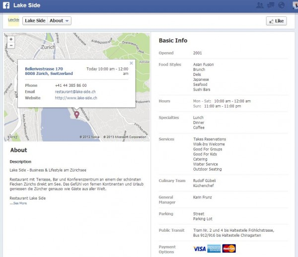 Infobereich für Facebook Orten