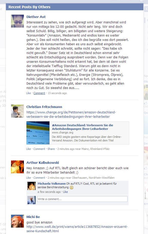 Der Shitstorm auf der Facebook Seite von amazon.de hält an