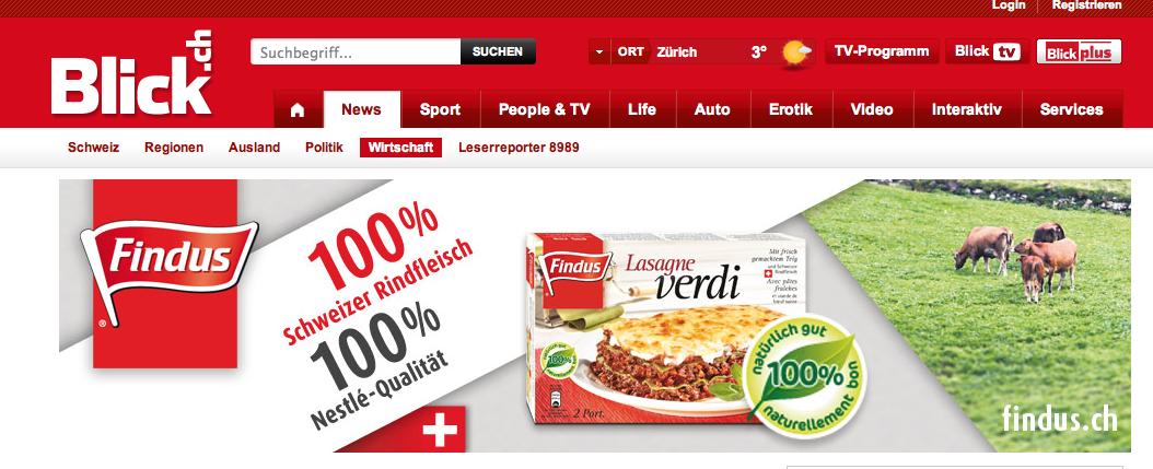 Finduswerbung auf blick.ch