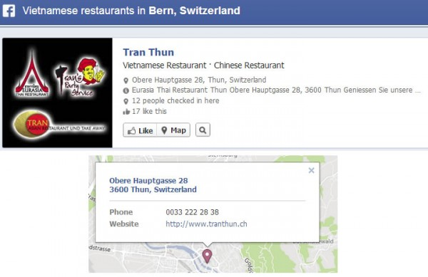 Adressinformationen für Facebook Orte werden in der Graph Search und bei Nearby angezeigt.