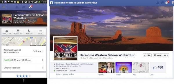 Darstellung des Profilbildes und des Titelbildes bei Nearby am Beispiel eines Restaurants