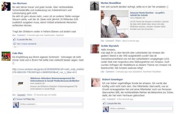 Negative Kommentare auf der amazon.de Facebook Seite