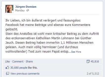 Vorwurf von Jürgen Domian an Facebook