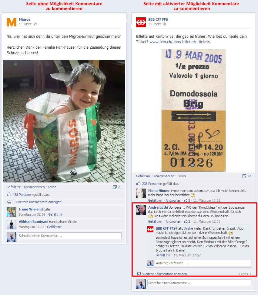 Kommentare auf Kommentare - Threads in Kommentaren - Beispiel mit aktivierter Kommentar-in-Kommentar-Funktion bei SBB, noch nicht aktivierte Anzeige bei Migros