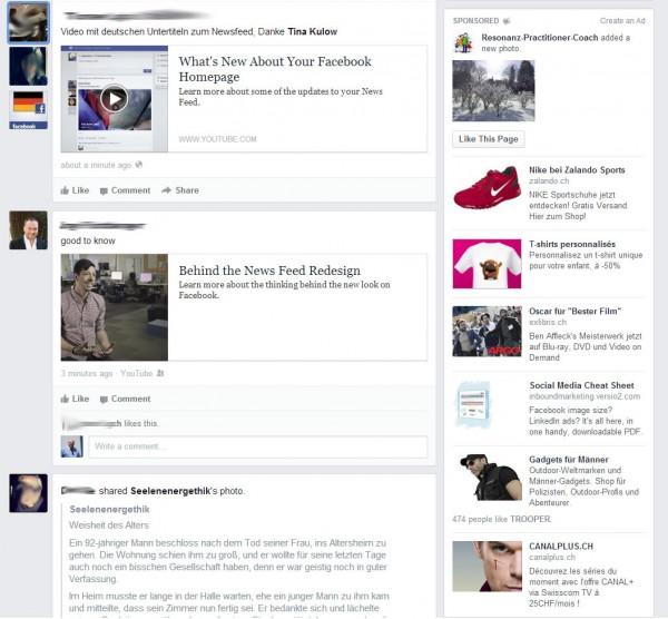 Ads Darstellung in der rechten Spalte des News Feeds