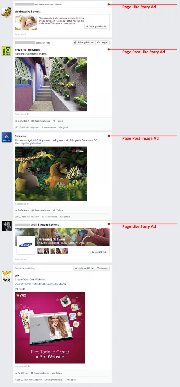 Page Post Ads und Sponsored Story Ads im News Feed