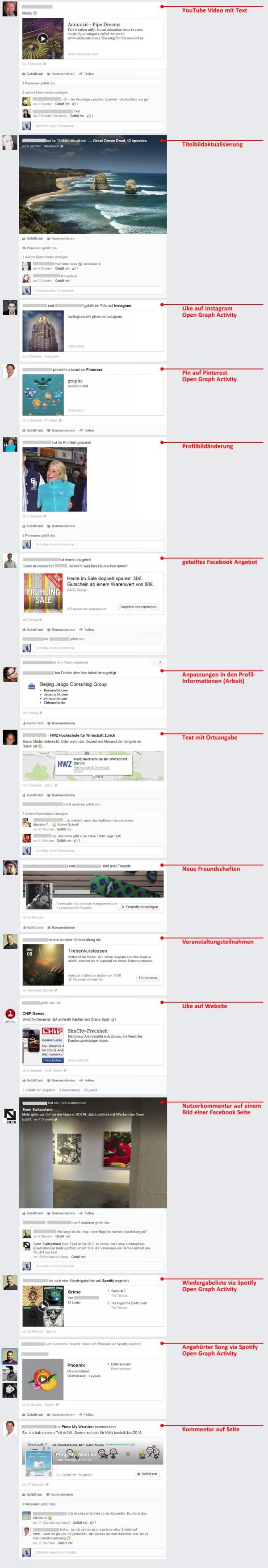 Posttypen von privaten Profilen im neuen News Feed