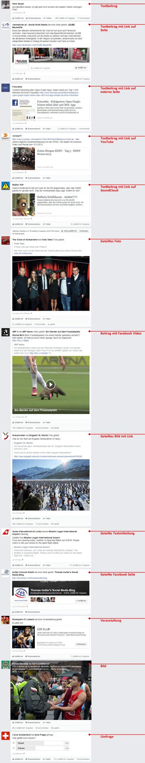 Posttypen von Seiten im neuen News Feed