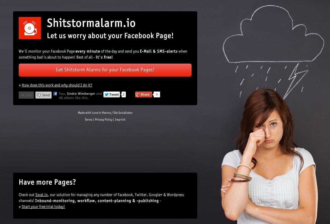 Startseite von shitstormalarm.io