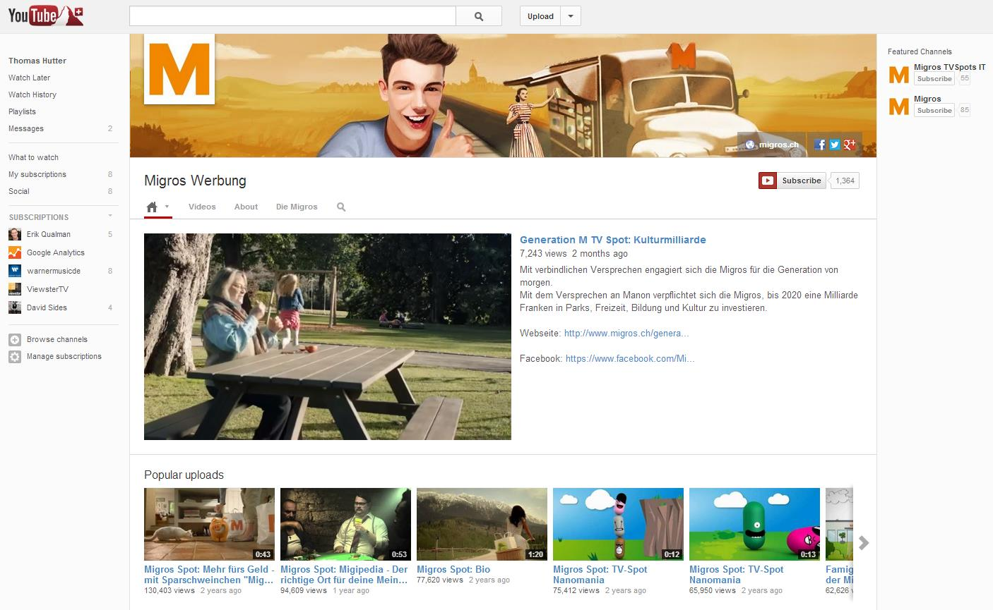 YouTube Brandchannel von Migros