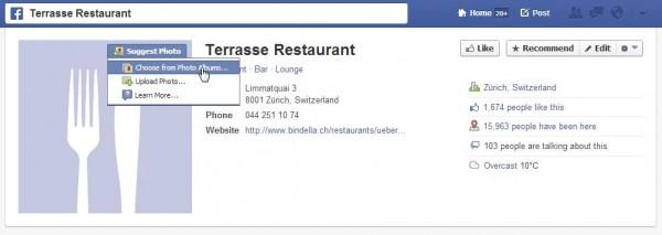 Bildvorschläge bei unbeanspruchten Facebook Orten