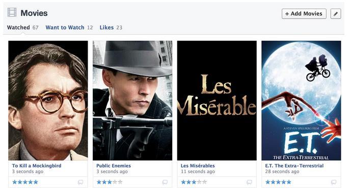 Der Filmbereich in der Chronik unterstützt neu Bewertungen (Quelle: Facebook)