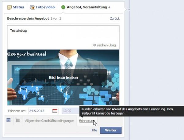 Erinnerungsfunktion für Facebook Angebote