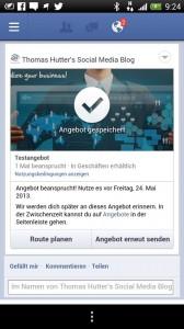 Darstellung des Angebotes in der Facebook Android App
