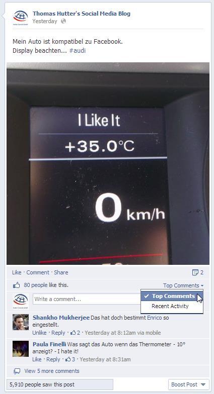 Sortiermöglichkeit bei Kommentaren auf Facebook Seiten