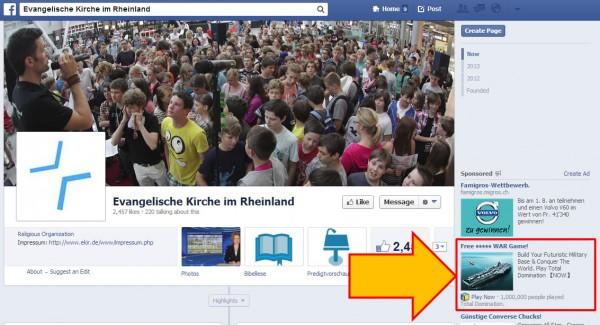 """Beispiel einer """"unseriösen"""" Ads auf einer Facebook Seite"""