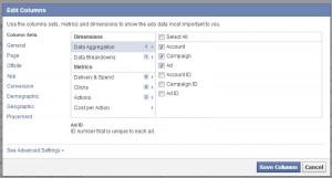 Selektion der anzuzeigenden Daten und Filterungen im Ads Manager (Reporting)