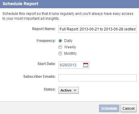 geplante Berichte im Facebook Ads Manager (Reporting)