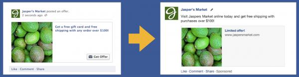 Anstelle von Online Angeboten werden in Zukunft Page Post Link Ads eingesetzt (Quelle: Facebook)