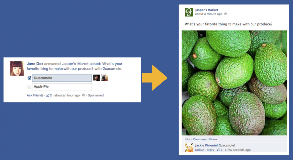Anstelle von Questions werden zukünftig Page Posts mit entsprechenden Fragen eingesetzt (Quelle: Facebook)