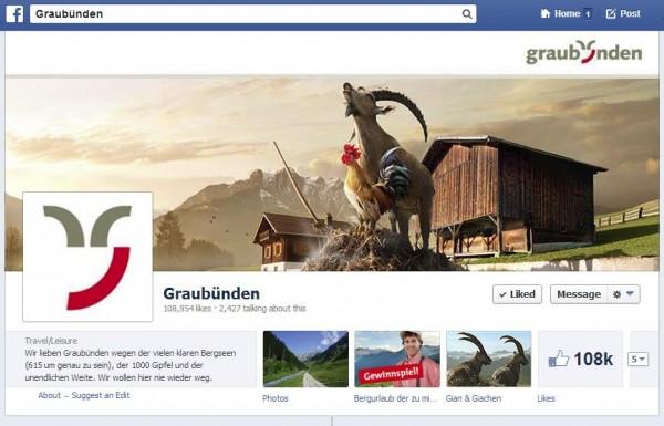 """Graubünden Tourismus mit der Facebook Seite """"Graubünden"""""""