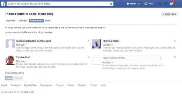 Neue Seiten Administration für Facebook Seiten - Bereich Administrations Rollen
