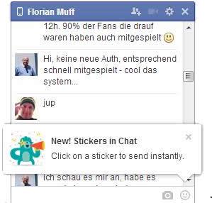 Sticker-Ankündigung im Desktop-Chat
