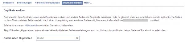 """""""Duplikat melden"""" im Administrationsbereich von Facebook Seiten"""