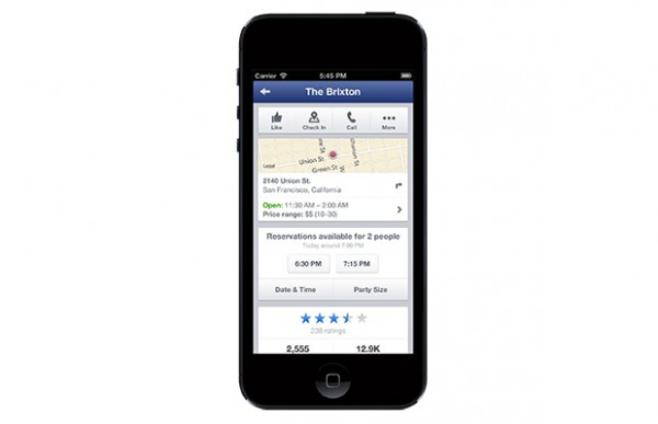 Mobile Facebook Seiten für Restaurants mit Open Table Integration (Quelle: Facebook.com)