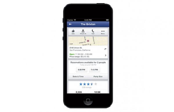 Mobile Facebook Seiten für Restaurants mit Open Table Integration (Quelle: Facebook.com)