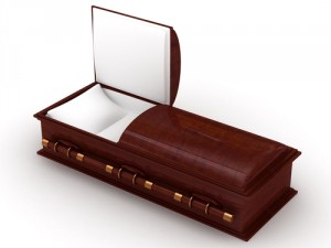 shutterstock_115431514 3D Wooden coffin from mahogany, with the open door -- copyright by shutterstock.com
