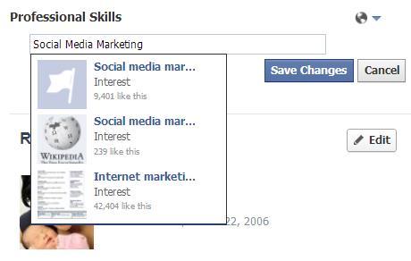 Berufliche Fähigkeiten im persönlichen Facebook Profil