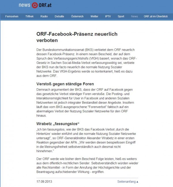Screenshot vom 17.09.2013 von orf.at