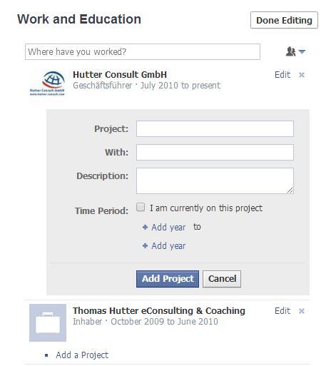 Projektinformationen im Facebook Profil