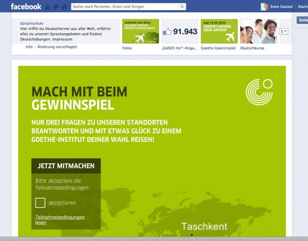 Screenshot Facebook Tab-App Layout Test (Quelle: Sven Gasser)