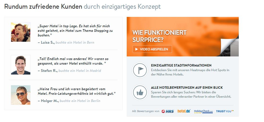 Testimonial auf surprise-hotels.com