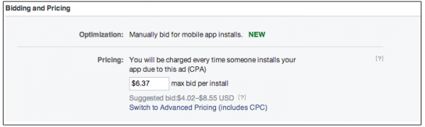 CPA Cost per Action als Gebotsvariante im AdManager oder PowerEditor (Quelle: Facebook)