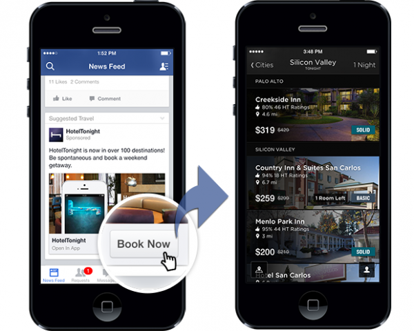 Beispiel Engagement Ads für HotelTonigh mit Deeplinking (Quelle: Facebook)