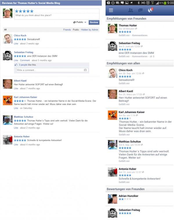 Rezensionen/Bewertungen Desktop-Ansicht versus Mobile-Ansicht
