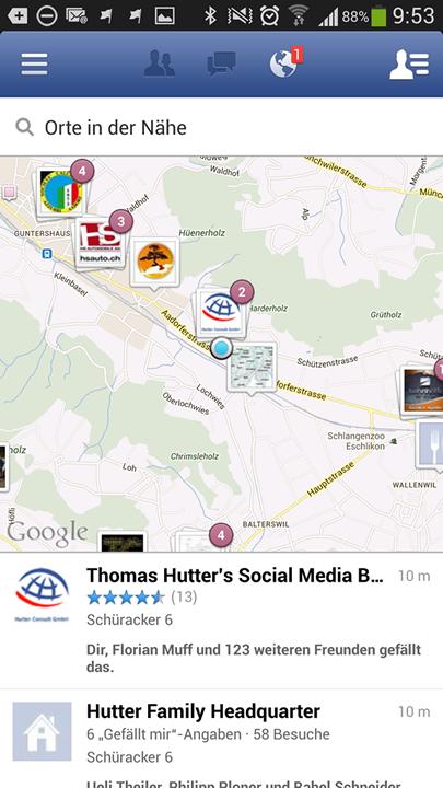 Rezensionen sind auch in Facebook Nearby sichtbar