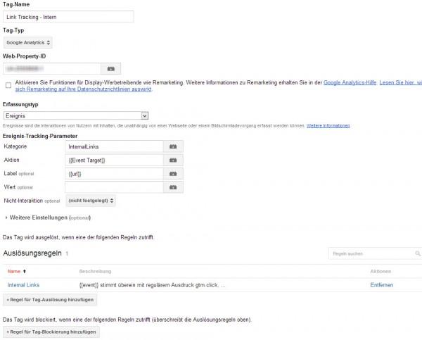 Schritt 4: Erstellen der Event Link-Tracking Tags