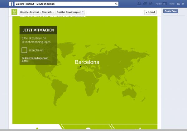 Tab-App Darstellung mit Like-Button oben nach dem Scrollen (Quelle: Sven Gasser)